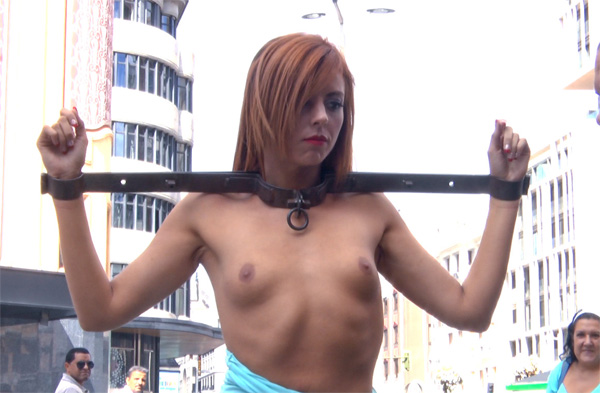 Public Disgrace - Bianca Resa - Gorgeous spanish model Bianca Resa is bound in Madrid 720p WebRip (2014)