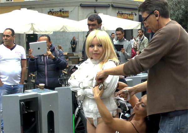 Public Disgrace - Sandra Romain, Steve Holmes, Mitsuki Sweet - Japanese Slut Is Humiliated And Put On Display In Madrid [HD]