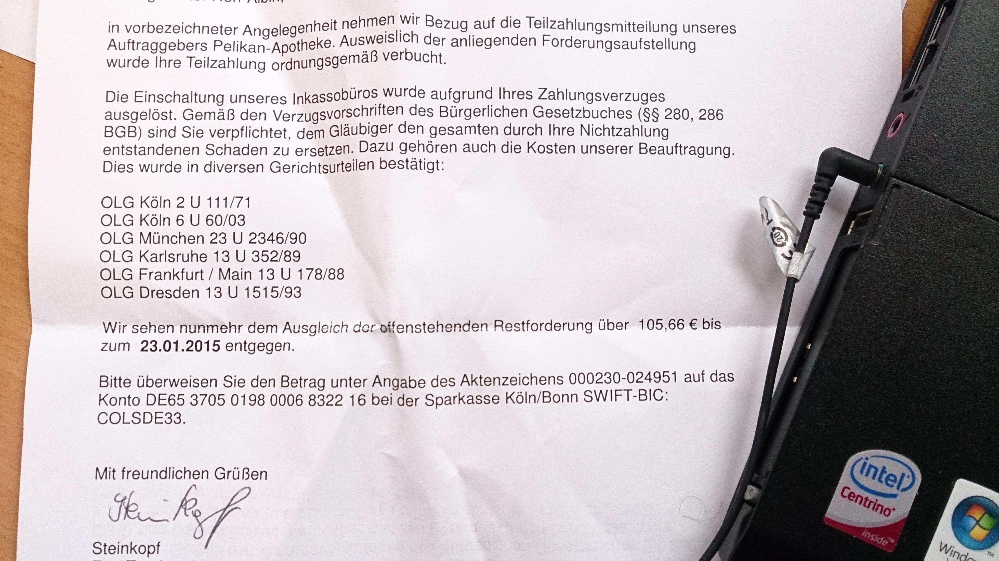 Forderung Euro Treuhand Inkasso Forum 123rechtde