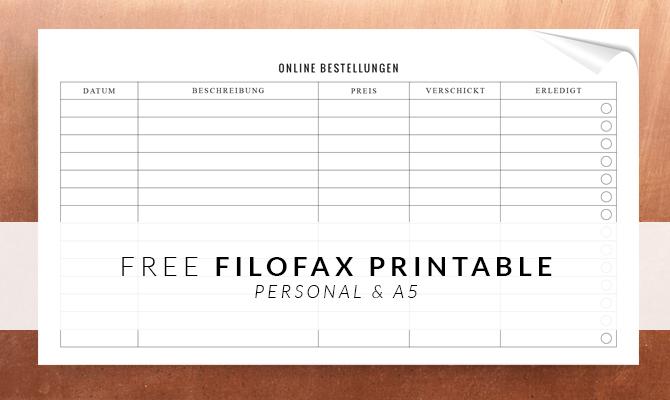 Filofax Printable Online Shopping