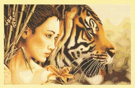 Схемы вышивки крестом тигр и девушка