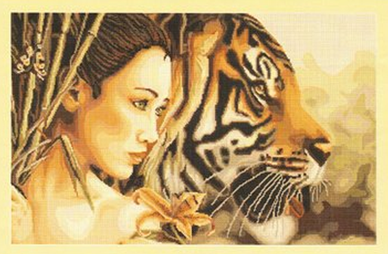 Вышивка крестом девушка тигр