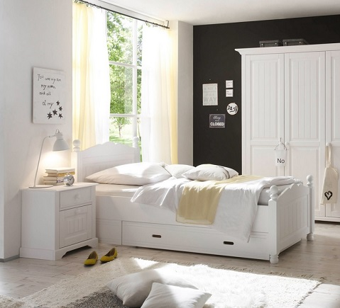 bett cinderella wei bettgestell schlafzimmer 100x200 cm kinderzimmer. Black Bedroom Furniture Sets. Home Design Ideas
