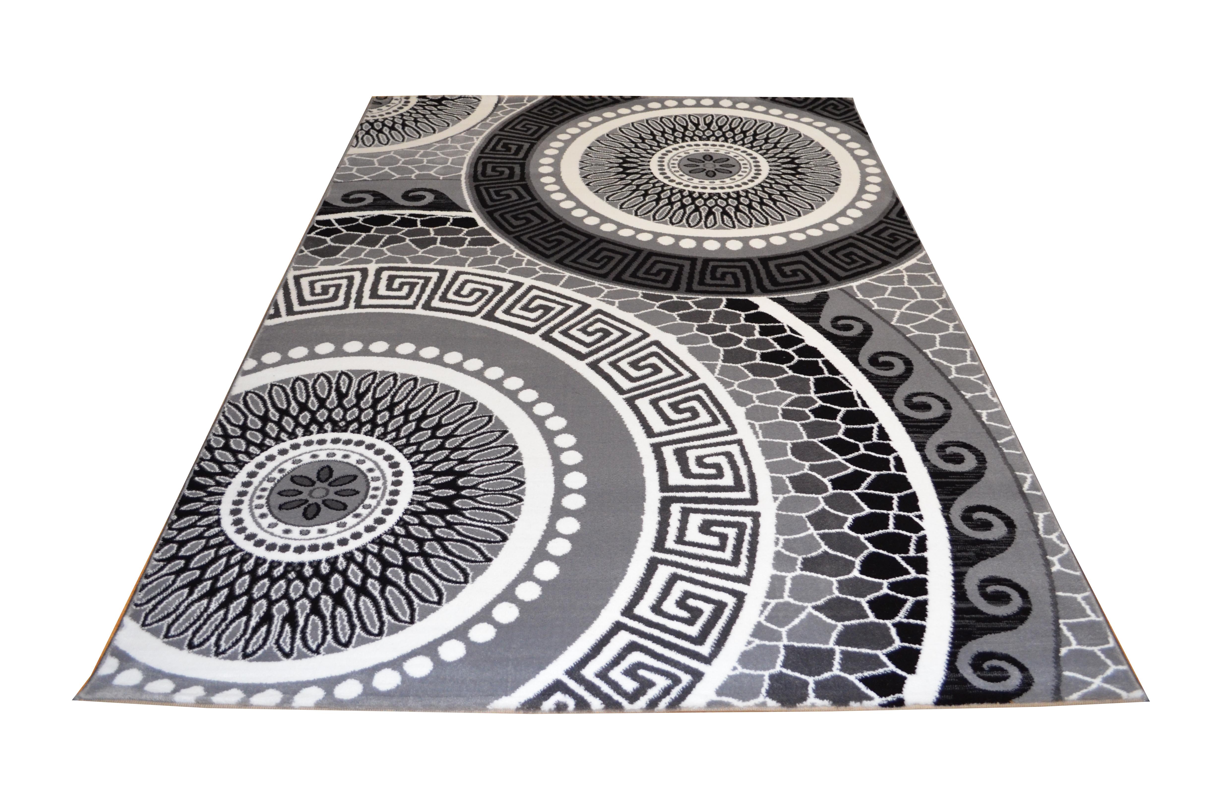 Moderner Teppich AY Yildiz Miami Farbe Schwarz Grau Weiss