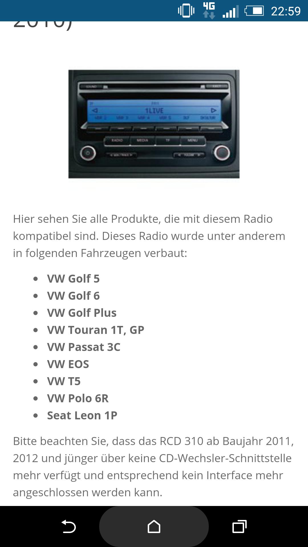 rcd 310 lightning in car hifi navigation telefon. Black Bedroom Furniture Sets. Home Design Ideas
