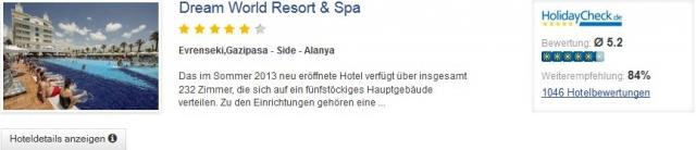 7 Tage im 5* Hotel Dream World Resort & Spa inkl. All Inclusive mit Flug, Transfer und Zug zum Flug für 316€