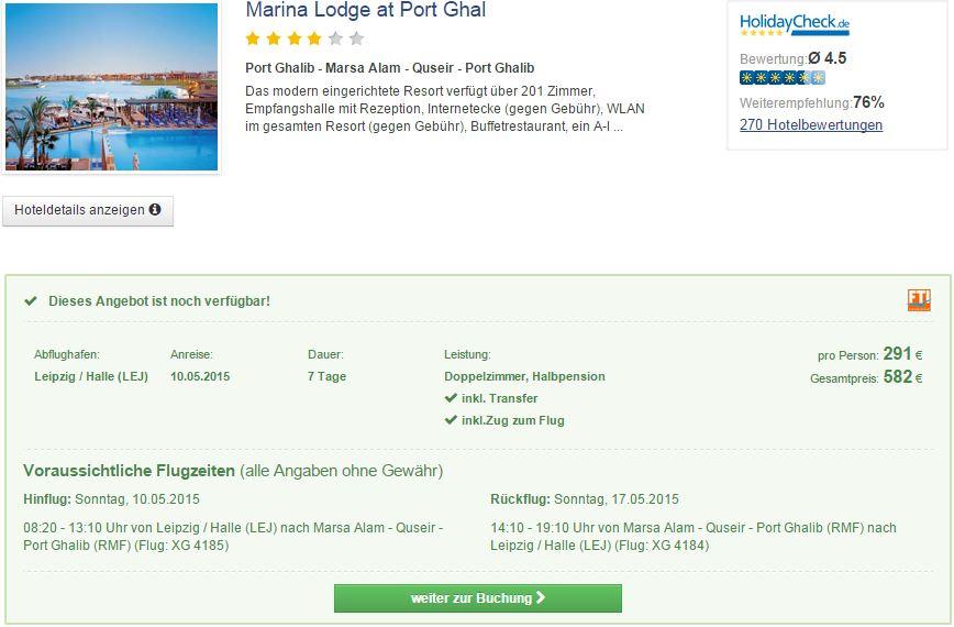 7 Tage Ägypten im 4* Hotel Marina Lodge at Port Ghalib mit All Inclusive inkl. Flug & Transfer nur 291€