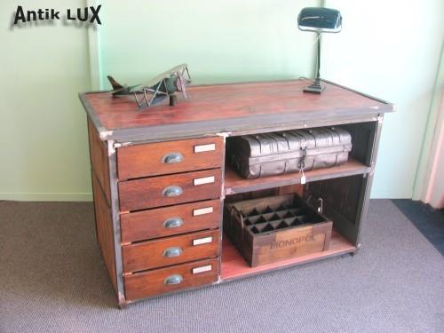 industriedesign loft m bel kommode werkbank metall schrank anrichte werktisch ebay. Black Bedroom Furniture Sets. Home Design Ideas
