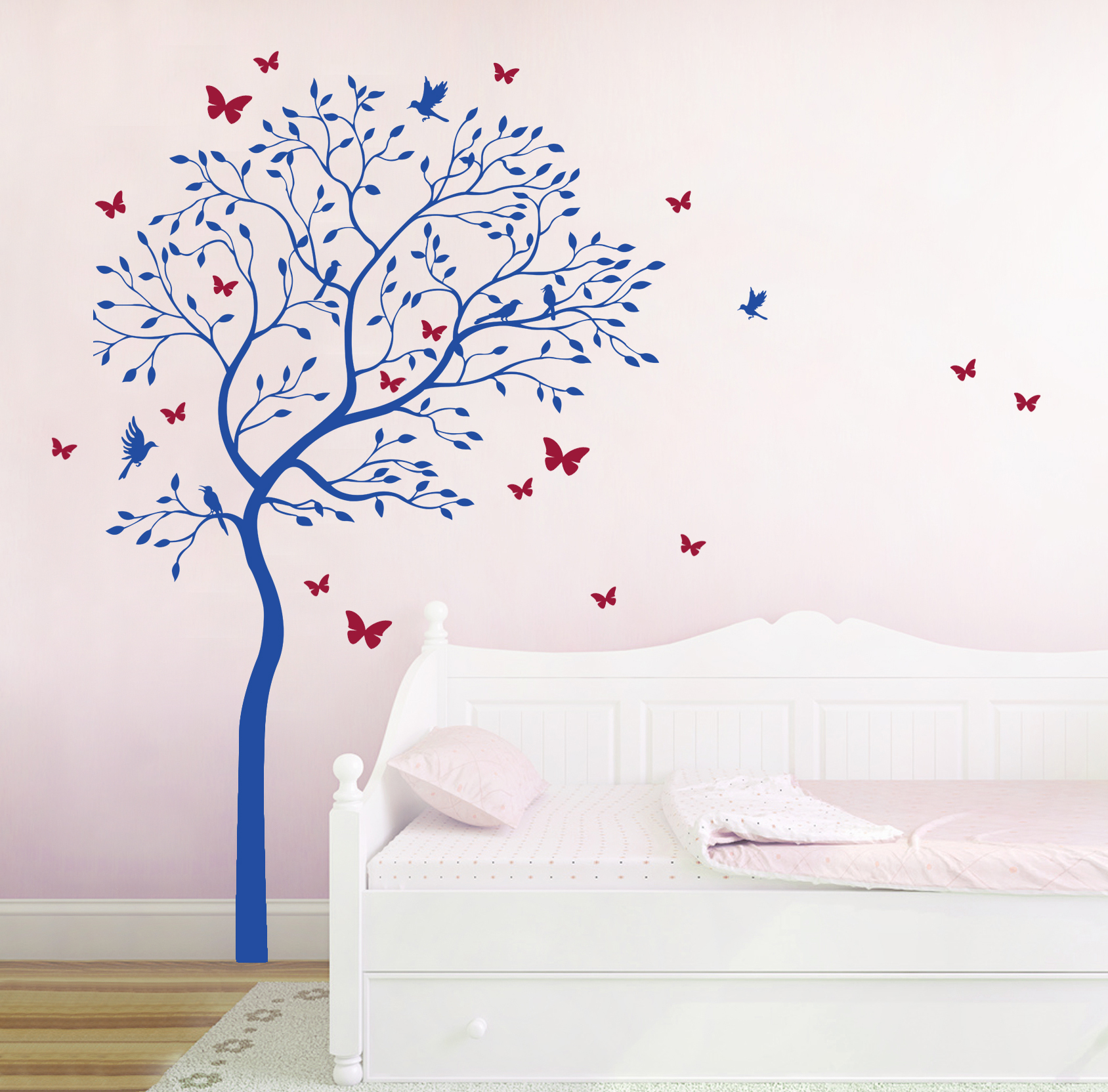 wandtattoo baum mit kolibris und schmetterlinge zweifarbig m1535 ebay. Black Bedroom Furniture Sets. Home Design Ideas