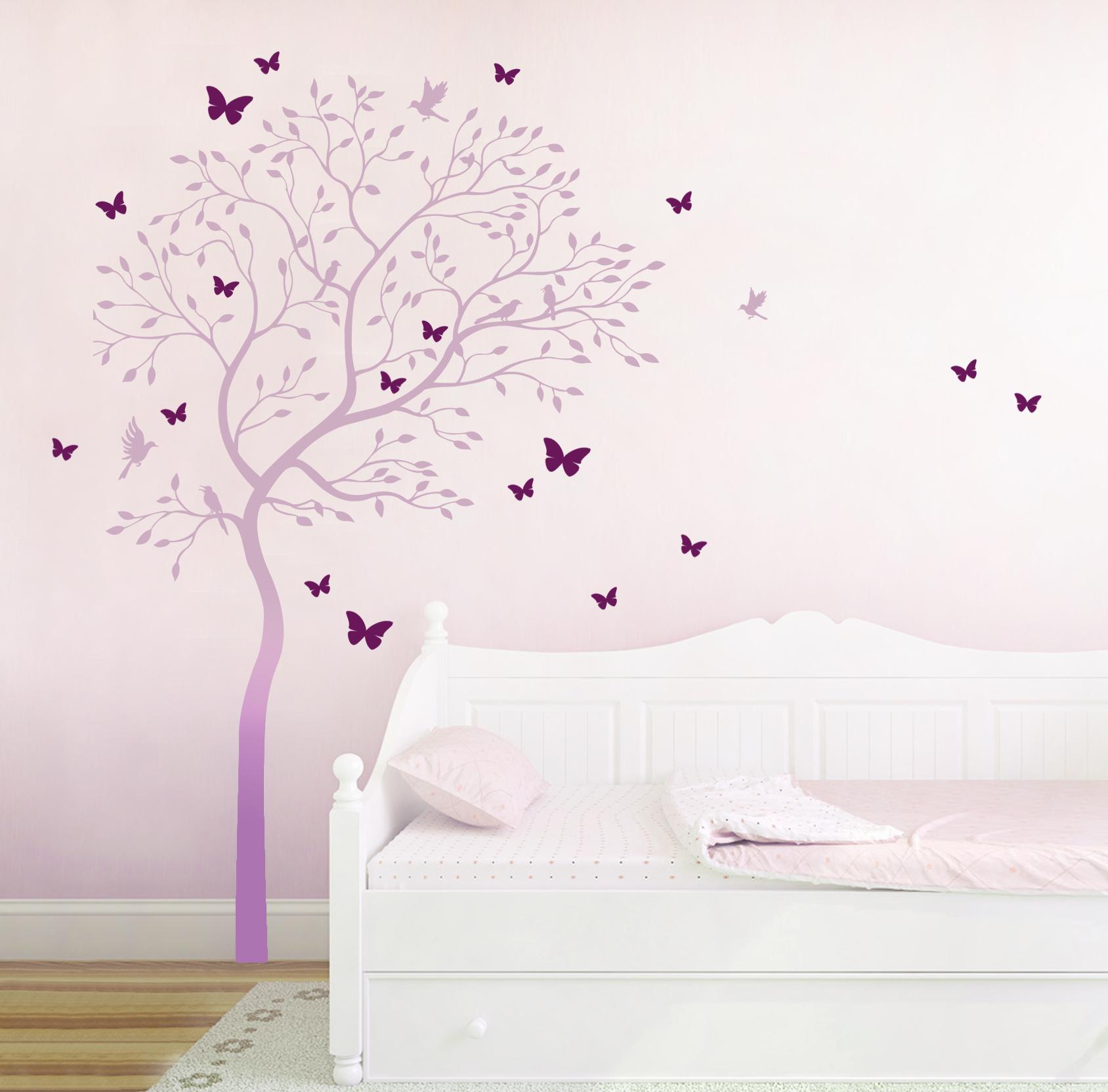 Wandtattoo baum mit kolibris und schmetterlinge zweifarbig for Pusteblume dekoration