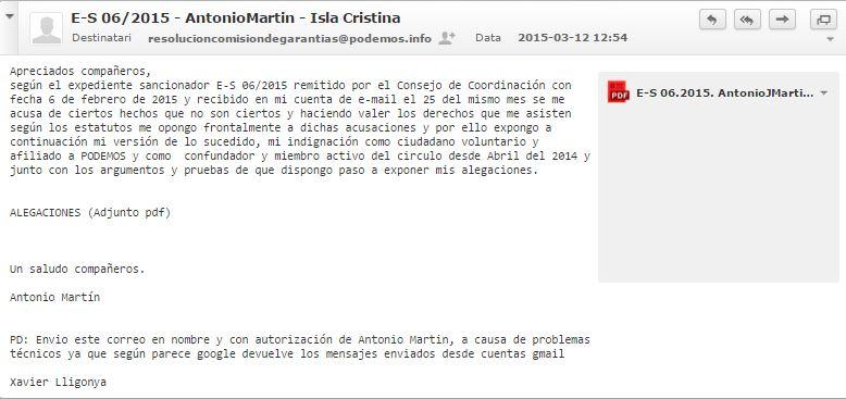 Capturas de pantalla de los recursos enviados a la Comisión de Garantías Democráticas de PODEMOS Ccq7tce3