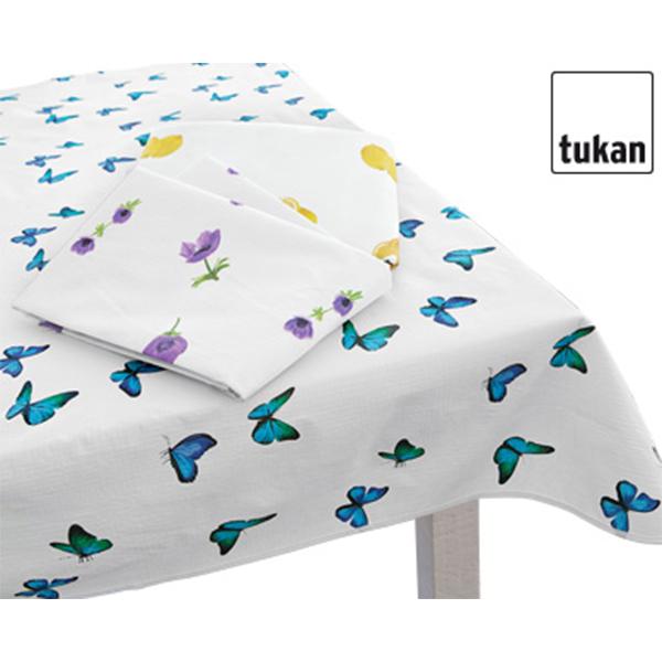 tukan tischdecke vinylflanell 160 130x180 rund oval obst blumen schmetterlingen ebay. Black Bedroom Furniture Sets. Home Design Ideas
