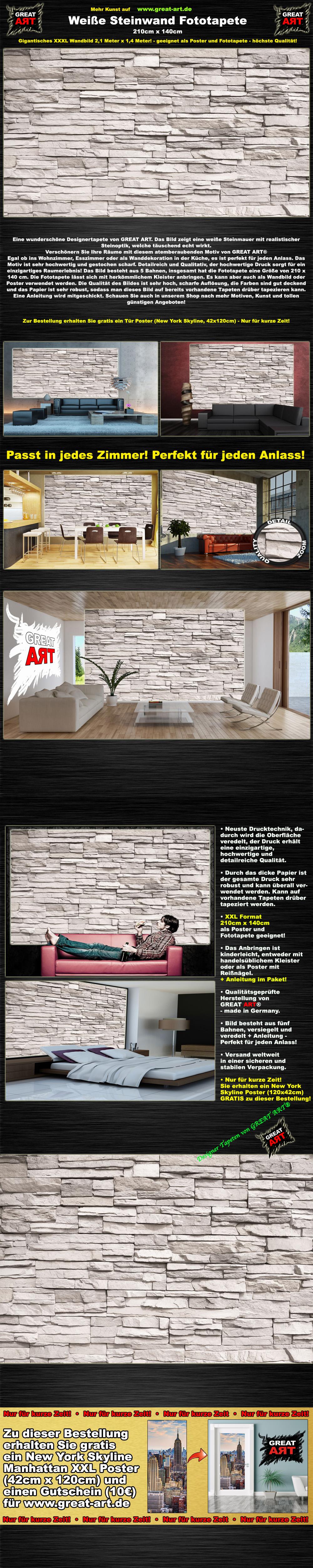 wei e steinwand steinoptik fototapete by great art 210 cm x 140 cm ovp 39 ebay. Black Bedroom Furniture Sets. Home Design Ideas