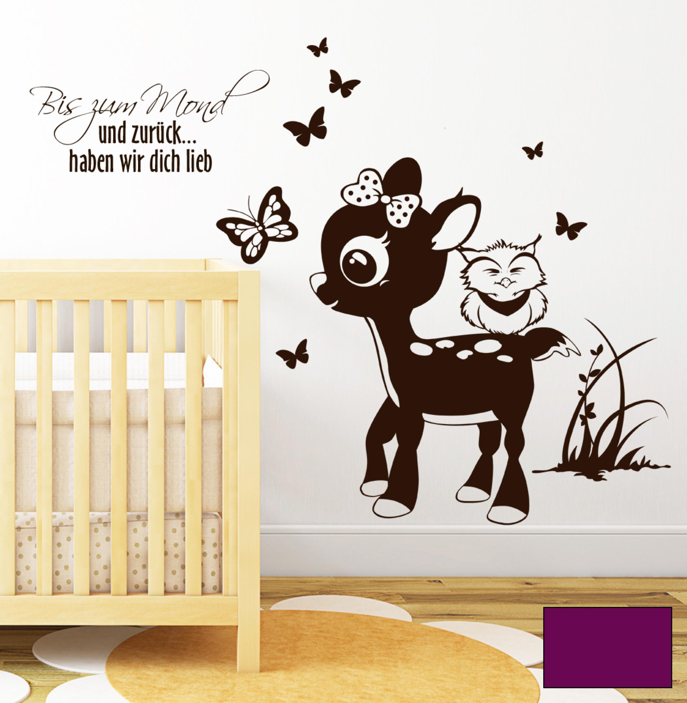 wandtattoo reh mit eulen und spruch bis zum mond m1468 ebay. Black Bedroom Furniture Sets. Home Design Ideas
