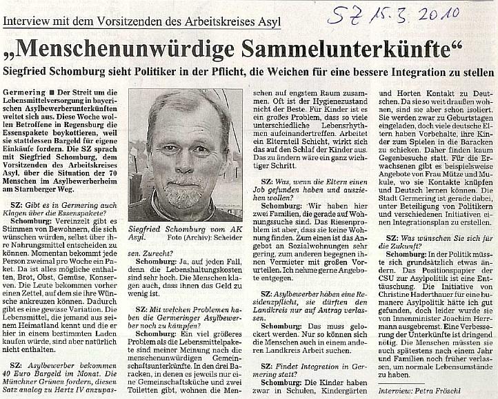 Interview mit Siegfried Schomburg im März 2010