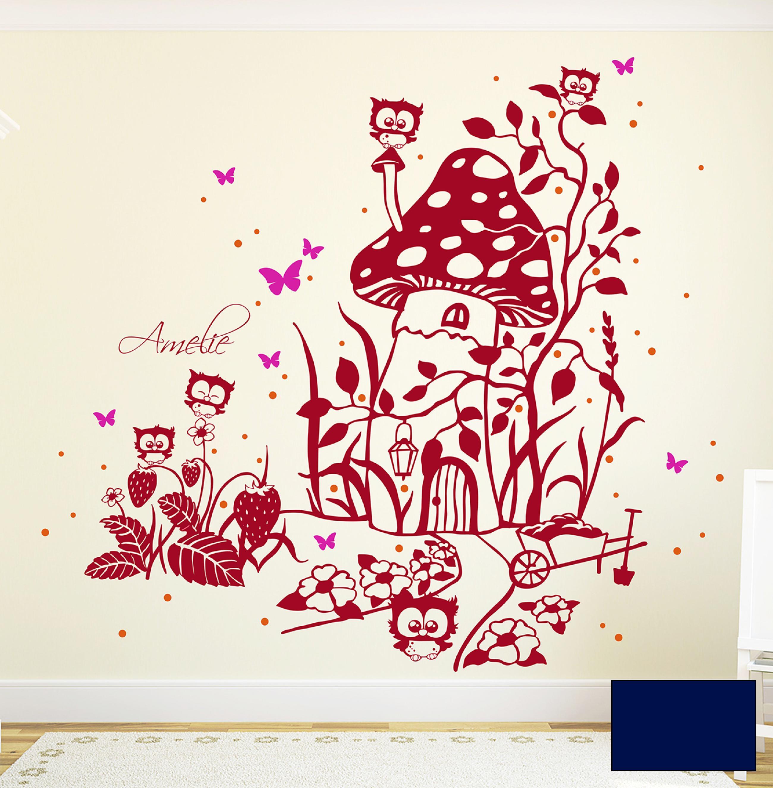 Wandtattoo eulen fliegenpilz eulenwandtattoo zweifarbig Fliegenpilz dekoration