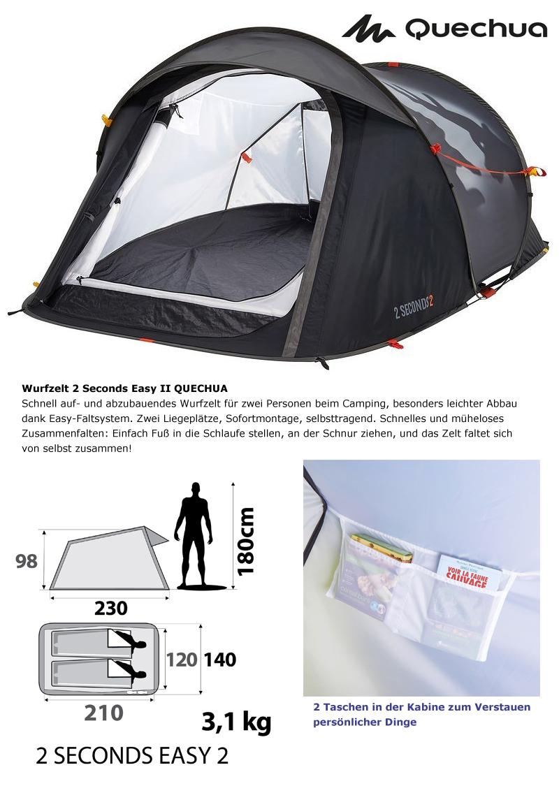 quechua 2 seconds ii wurfzelt 2 personen easy pop up camping zelt limit edition ebay. Black Bedroom Furniture Sets. Home Design Ideas