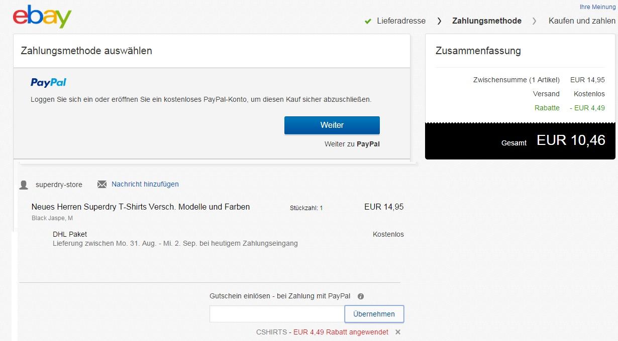 paypal 15 euro gutschein ebay. Black Bedroom Furniture Sets. Home Design Ideas