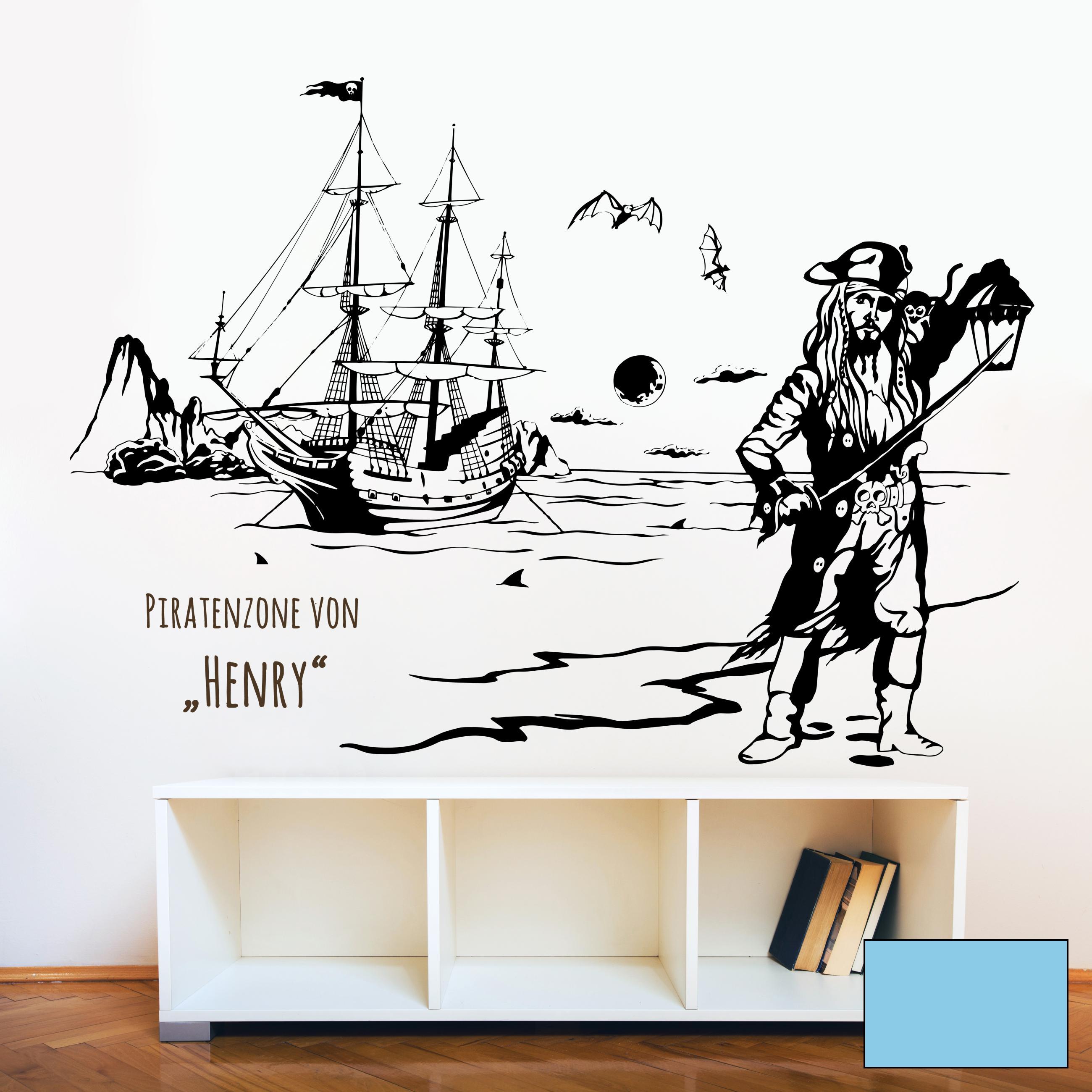 wandtattoo piratenschiff meer wunschname m1643. Black Bedroom Furniture Sets. Home Design Ideas
