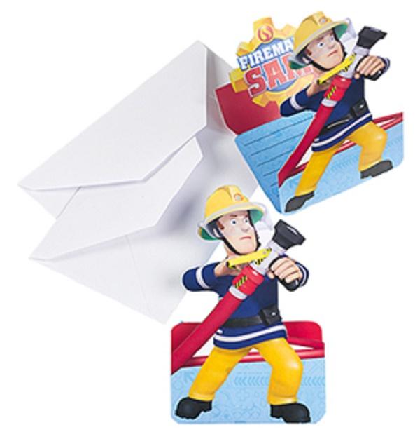 Feuerwehrmann Sam 8 Einladungskarten + Umschläge 998157