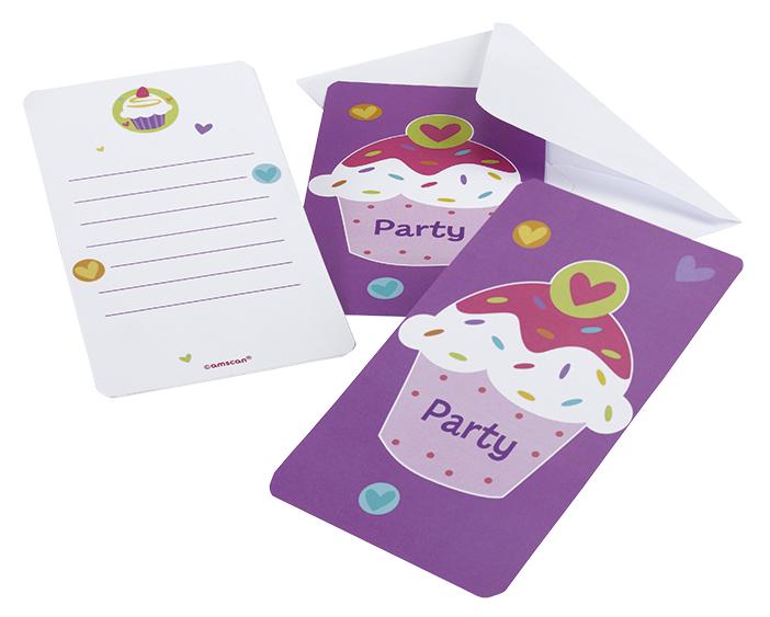 // Cupcake-Party 6 Einladungskarten + Briefumschläge 997217