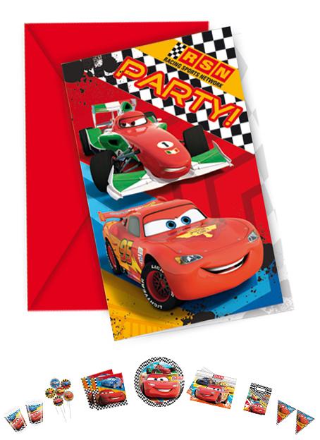 Cars Einladungskarten mit Umschlag, 6 Stück P81563