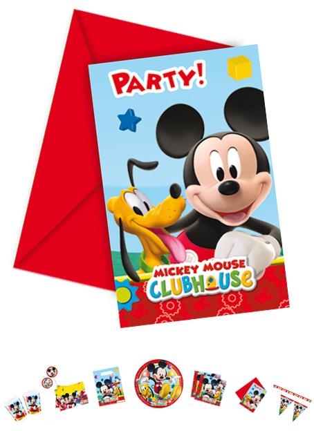 Mickey Mouse Einladungskarten mit Umschlag, 6 Stück P81513